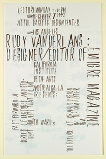 Poster Announcement, Cal Arts Program in Graphic Design Announcement: ...Rudy VanderLans Designer/Editor of Emigre, December 7, 1992, December 7, 1992