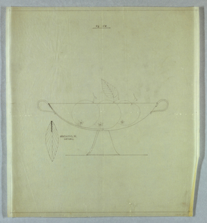 Oval fruit bowl with handles on tapered legs. Bowl holds three pieces of fruit, possibly peaches. At left, a drawing of a single leaf.