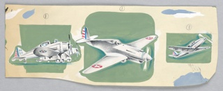 """Three airplane designs on green ground. Left: PA/54; center: striped tail, star on each wing; right: striped tail, star and """"U.S"""" under wing."""