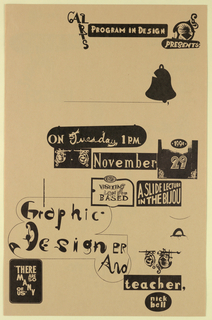 Poster Announcement, Cal Arts Program in Graphic Design Announcement: ...Take a Fiver/ Graphic Designer and Teacher Nick Bell, November 29, 1994, 1994