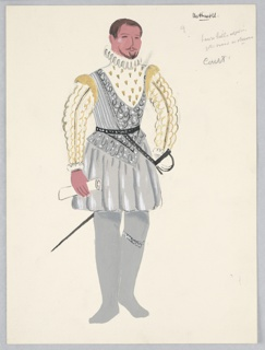 """Drawing, Costume Design: Bothwell, for """"Queen of Scots"""""""