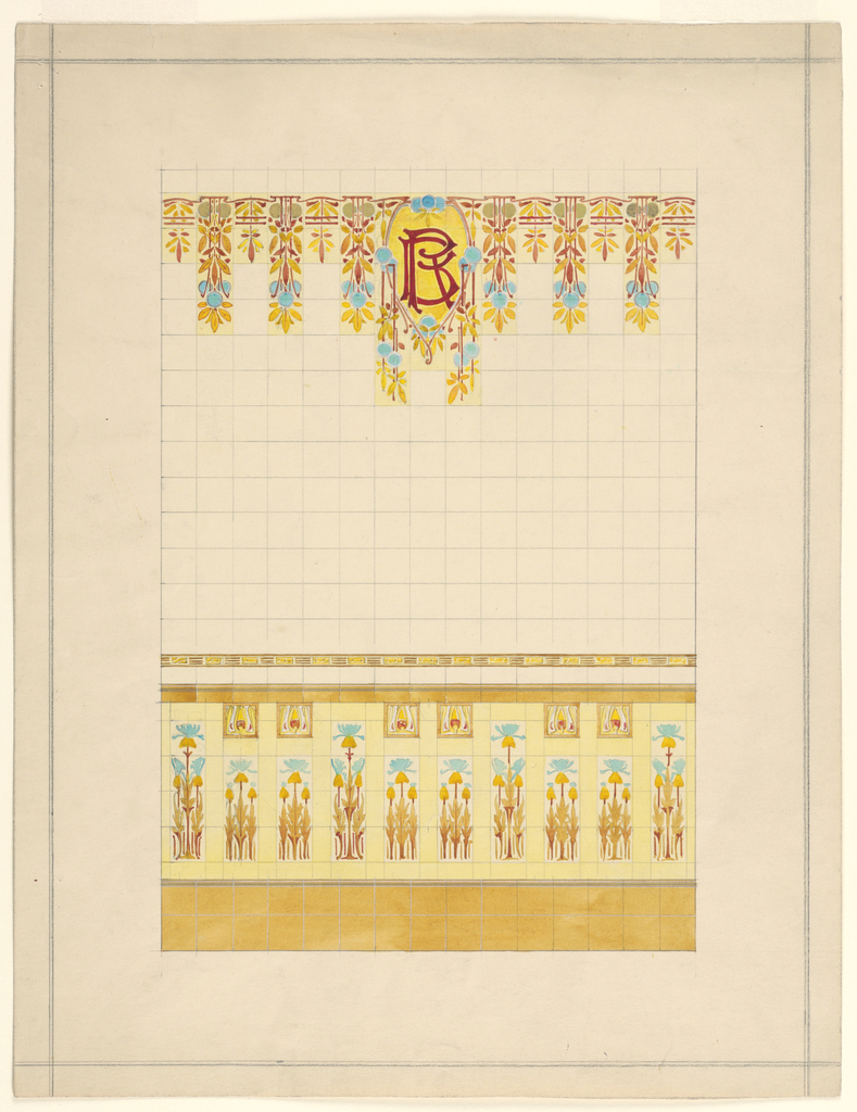 Drawing, Design of Wall Decorated with Tiles