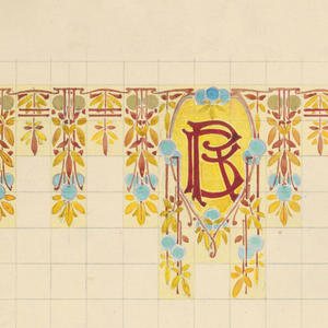 On squared paper, above, an inverted tear-shaped cartouche with initials RB at top center in red on yellow ground, flanked by stylized burnt orange and yellow foliage with blue and gray circles. Below, singular register with yellow geometrical shapes alternating with three horizontal stripes; below that, alternating every two vertical designs, along dado, all with tall stylized blue blossom flanked by shorter blue blossoms, every two has a square with curved floral motif in yellow and red, all on light yellow and tan ground.