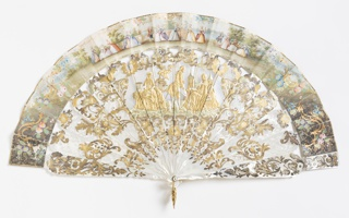 Pleated fan. Narrow leaf with hand-colored lithograph on paper backed with painted parchment; sticks of carved and incised mother-of-pearl, washer and metal loop at the rivet. The obverse shows a garden party with a central cartouche of a gentlemen with two ladies. The reverse has a girl and boy playing a pipe. Both sides have a gilt border and decoration.
