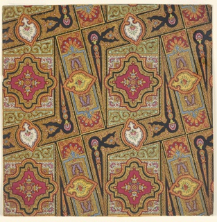 Repeating design in red, green, blue, purple, gold, yellow, and black. Unit is composed of floral arrangements inside scalloped cartouches in rectangles or squares, all framed by gold foliage-themed borders.