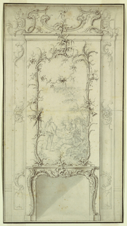 Drawing, Design for a Wall Panel with Fireplace