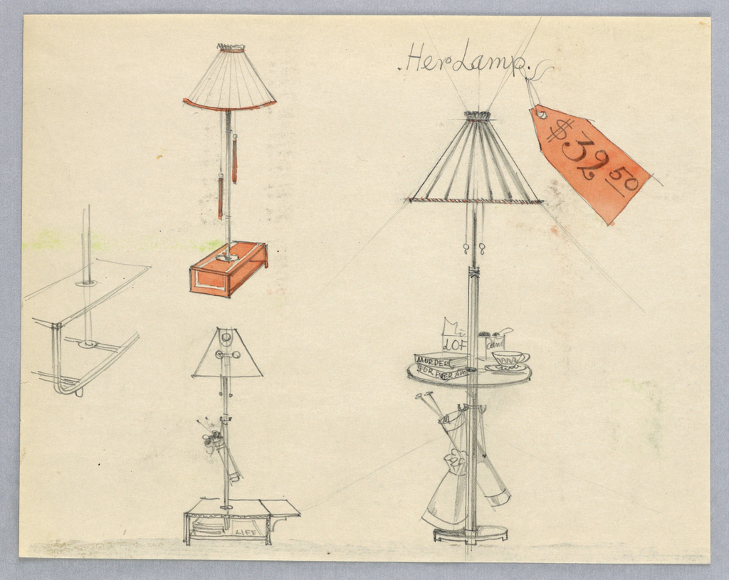 At left, tall lamp with peach trim on shade; lamp is standing on lacquered, peach table. Below, sketch of second lamp on a low table. At right, standing lamp-table, books, teacup and saucer, box of LOFT candies on table.