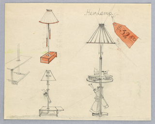 """Drawing, Three Designs: """"Her Lamp"""""""