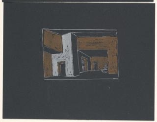 """Drawing, Stage Design: Study, for """"Queen of Scots"""""""