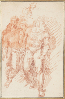 Group of figures to the left of Mary in The Last Judgment by Michelangelo