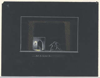 "Two figures approach a stairway through an archway, left, lighted by a single torch. Below: ""Act 2 Scene 2"""