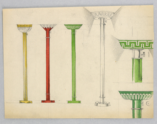 Standing lamps from left to right: brass lamp with bowl-shaped glass and brass reflector; red (lacquer?) pole with fluted glass reflector ; green (lacquer?) pole with green reflector and white fluting; graphite sketch of reflector; designs for two reflectors, green (lacquer), top with Greek Key Motif, bottom with fluted motif.