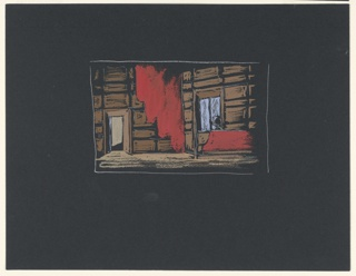 "Stage design for Sir John Gielgud's production of ""Queen of Scots,"" a play by Gordon Daviot (also known as Elizabeth Mackintosh) performed at the New Theater in London. Interior design of a stone-walled chamber. At stage right, a low doorway; at stage left, a window with a red, upholstered settee. A red curtain hangs between the door and the window."