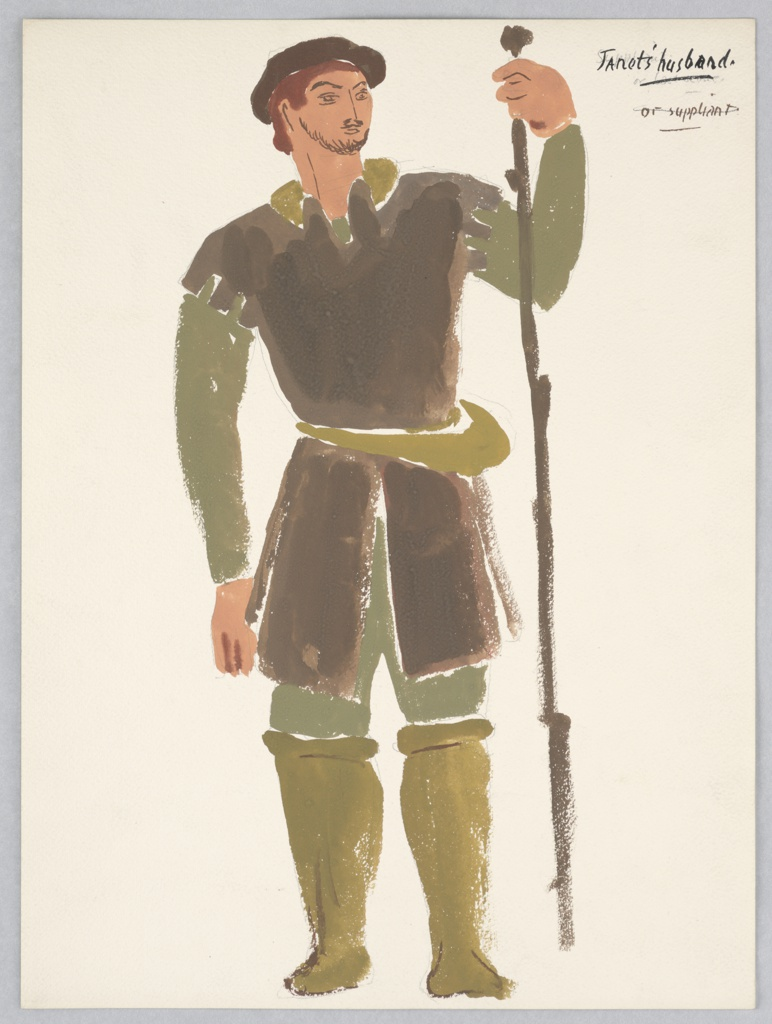 """Costume design for Janet's Husband for John Gielgud's """"Queen of Scots"""". Standing figure facing frontally with a tall staff wearing a brown garment over a dark green shirt, trousers, and lighter brown leggings."""