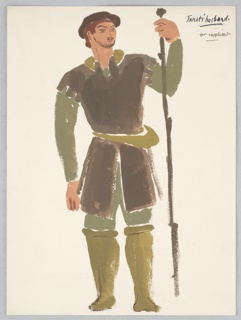 "Costume design for Janet's Husband for John Gielgud's ""Queen of Scots"". Standing figure facing frontally with a tall staff wearing a brown garment over a dark green shirt, trousers, and lighter brown leggings."