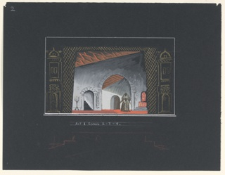 A chamber, with large arched doorway in the background, and stairway within an archway to the right, upstage. A figure of a woman (probably Queen Mary), center. Flats with doors and windows above at either side. Below, plan of the wings.