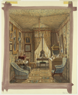 Drawing, Interior of a Dressing Room with Tented Ceiling