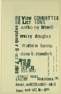 Exhibition Annoucement, Detroit Focus Gallery Review Committee Selection..., September 8, 1989