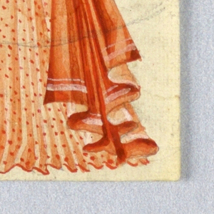 Woman with elongated body and arms raised, wearing a plumed hat, blouse and long pleated skirt tied at hips with a large bow. Figure in tones of coral and white.