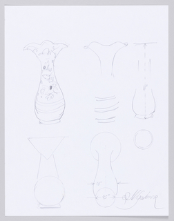 Six sketches of full or partial design of Tall Bee Vase, some featuring detailed design elements and others highlighting basic forms and proportions.