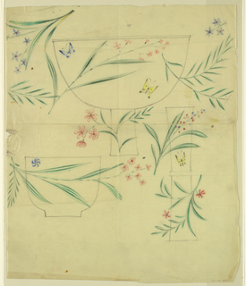 Designs of green ferns, small floral sprays and butterflies decorating a footed bowl (top); small bowl (bottom left); and a trumpet vase (right).