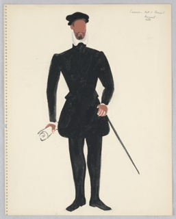 Vertical rectangle. Standing figure seen frontally wearing a black doublet and hose with high white collar and black barret. He carries a sword and scroll.