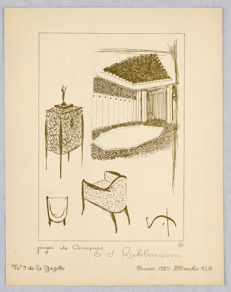 Group of three lithographic prints: one cover page with printed text, one explanation of plates with printed text, one sketch with handwritten text and illustrations. Primary illustration: Vertical rectangle. Designs for furniture including two views of chair at bottom, commode, and sketch of richly decorated interior contained within ruled border.