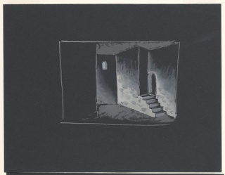 """Stage design for Sir John Gielgud's production of """"Queen of Scots,"""" a play by Gordon Daviot (also known as Elizabeth Mackintosh) performed at the New Theater in London. A prison-like chamber similar to 1963-39-227, a small window near the ceiling upstage center. At stage left, a flight of stairs leading to an arched doorway."""