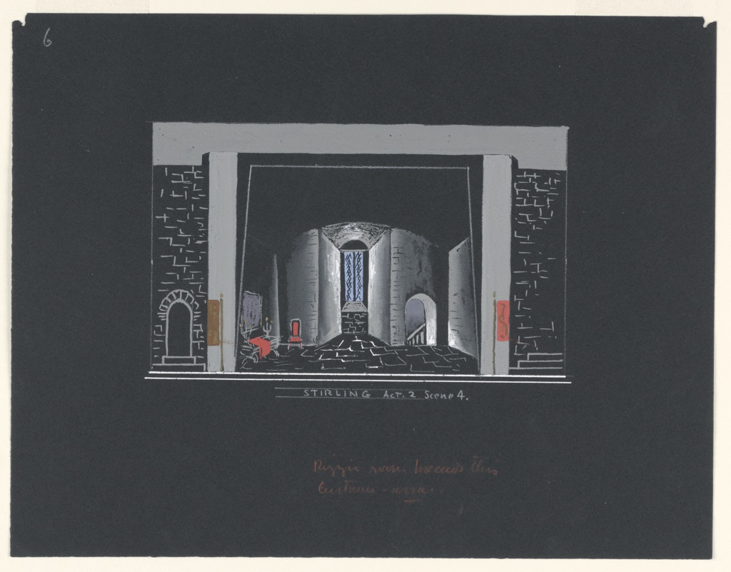 "Stage design for Sir John Gielgud's production of ""Queen of Scots,"" a play by Gordon Daviot (also known as Elizabeth Mackintosh) performed at the New Theater in London. A vaulted stone-walled chamber with a single window, upstage center. A side table draped with a red cloth and two candelabra resting on top and chair, stage right. A stairway leading down through an archway, stage left. Flats depicted on either side of the set design."