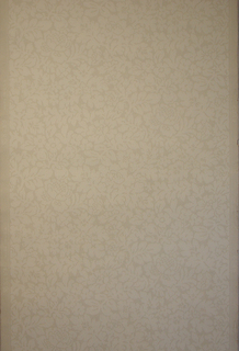 All-over pattern of floral and foliate design, printed in white on off- white ground.