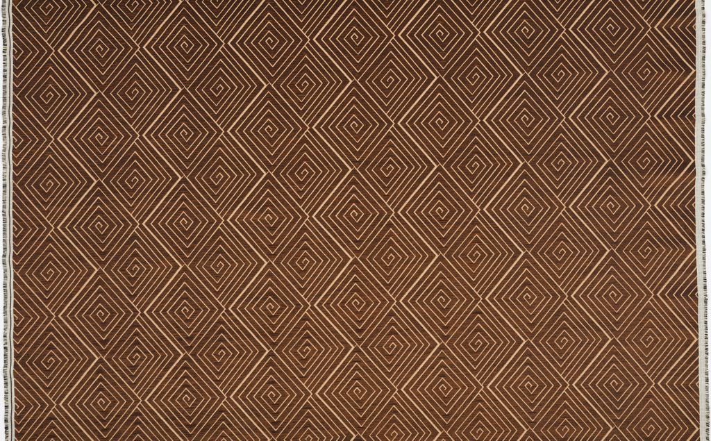 Woven pattern of fine linear concentric diamonds, in off light orange on dark copper ground. Colors created by pairing fine orange warps with heavier white or black wefts.