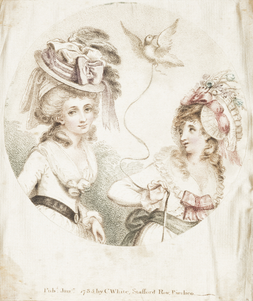 Circular picture showing two fashionably dressed women, one holding a bird on a string.