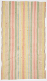 Warp stripes of various widths in green, yellow, salmon, pale pink, and white; some with small checks in a contrasting color using blue, yellow and orange supplementary warps.