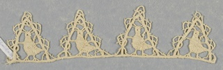 Border fragment of triangular scallops with a single bird in each point. Modes: cordonnet, brides.