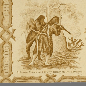 Children's wallpaper depicting events from the story of Robinson Crusoe. A pattern of entwined branches forms a rustic framework around each of six different scenes, placed in an alternating position in horizontal rows. There is a caption below each scene. Margins at both sides. Intaglio printed in a monochromatic brown design on a light brown ground.