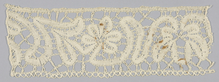 Band of northern Italian guipure in a design using scroll tapes with brides. Design is based on a 17th-century pattern.