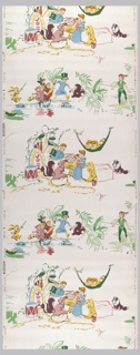 Children's paper showing the characters from Peter Pan in two alternating views. Printed in pastel colors on a white ground. Production of paper coincides with world premiere of the Walt Disney movie.