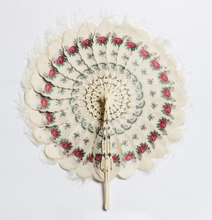 Cockade fan with white silk leaves with scalloped edges, each brocaded with a red flower, and trimmed with white marabou.