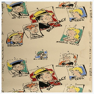 "Children's wallpaper with headshots of the Dick Tracy cartoon characters ""tacked"" onto the background in trompe l'oeil fashion. Printed in bright colors of red, blue, yellow, and black on a white ground."