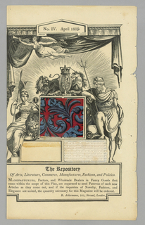 """Component """"a"""" is a page from Ackermann's Repository No. IV, April 1809. Page contains printed graphics and two textile swatches: a swatch of red and blue block printed fabric and a swatch of white woven fabric. One swatch missing."""