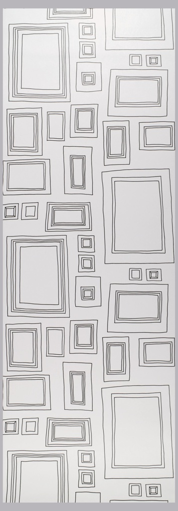 Children's interactive wallpaper containing 17 different picture frames of varying size.  The frames are freely drawn in black line on a white ground.  The empty frames are designed to be drawn in.