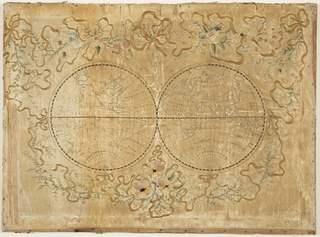 "Embroidery on top of printed satin foundation of two globes of the world.  Printing on satin reads: ""The World with all modern boundaries.""  Elaborate border of embroidered flowers and ribbons."