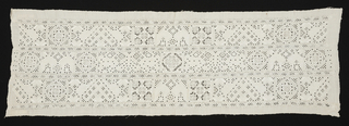 Section of wide border of linen of cutwork with reticella and embroidery. Design in horizontal bands, of geometric elements, with confronted birds in embroidery.
