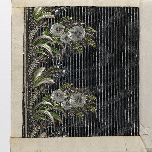 Floral pattern embroidered with polychrome silk, net appliqué, blue and silver sequins and clear glass on background of blue and black silk compound ground fabric.