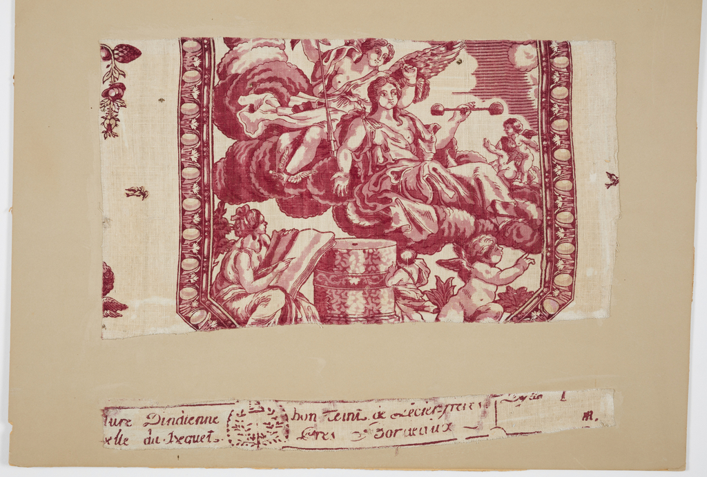 Two pieces of fabric. A has the pattern; B a partial factory stamp. Printed in red on white. A has part of a cartouche showing a goddess (Justice?) with a winged Mercury behind her within egg and dart framing. Small floral sprays at either side.