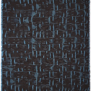 Woven design of fine linear concentric squares, in brilliant turqoise blue on a dark brown ground.