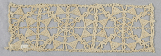 Reticello design in bobbin lace with squares containing diagonals and triangles.