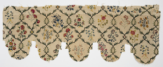 Textile cut and pieced to form a valence with deep rounded scallops. Branches interlace to form a rounded lattice design, each ogive framing a small naturalistic spray of roses, forget-me-nots, carnations, etc. Colors are bright and with many variations of blue, green, yellow, pink and violet on an off-white ground.