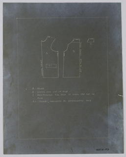 Pattern of man's waistcoat, accession numbered 1901-7-1, made in white muslin. Photostat of pattern and  photograph of waistcoat.