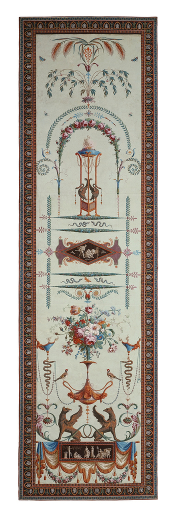 Arabesque design. At bottom, a pair of griffins below a vase supported by two birds containing floral bouquet. At top, beneath an arbor is an altar, with wheat shafts above. Printed on light green ground.